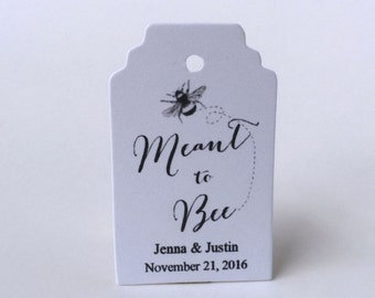 Meant to Bee Favor Tags, Wedding Personalized Gift Tags, Mason Jar Favor Tags