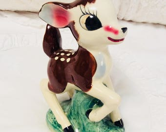 Rare Vintage Large Bambi Deer Figurine Spotted Japan Fawn Anthropomorphic