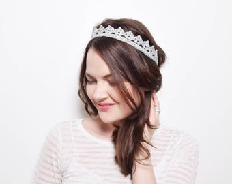 Adult Party Crown, Adult Crown Head Band, Cosplay Princess Tiara, Silver Crown Headpiece, Prom Crown, Flower Girl Crown, Adult Party Hat