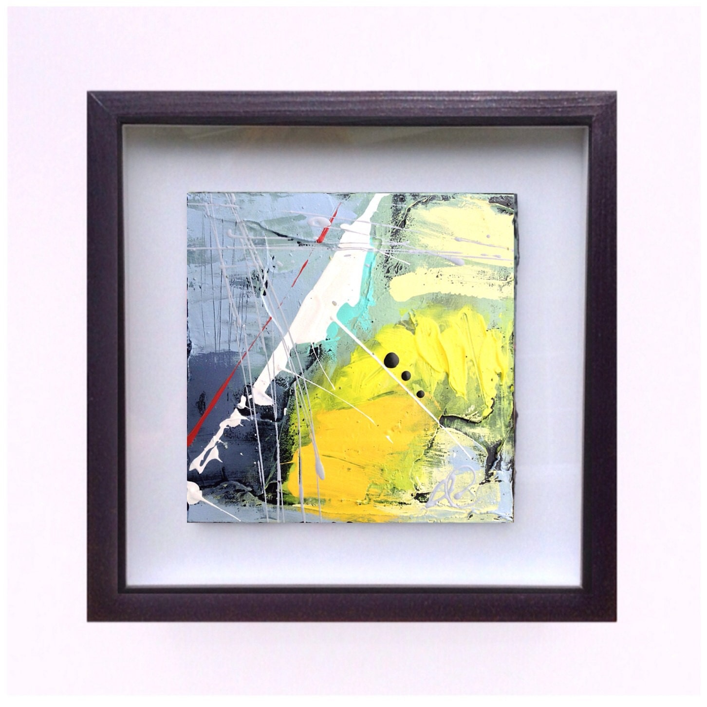 Small abstract painting framed painting IKOUart Isabelle