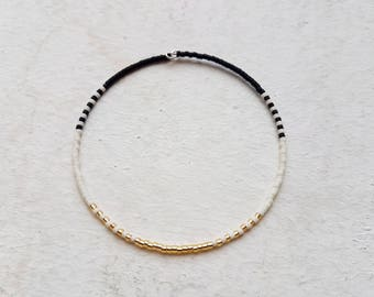 Tiny Bracelet black white gold