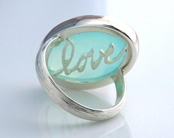 Aqua Chalcedony Cocktail Ring, Handcrafted with Recycled 14k Yellow Gold and Sterling Silver, Large Gemstone Ring, Statement Ring