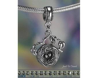 Birds Nest Charm or European Style Charm Bracelet Sterling Silver .925