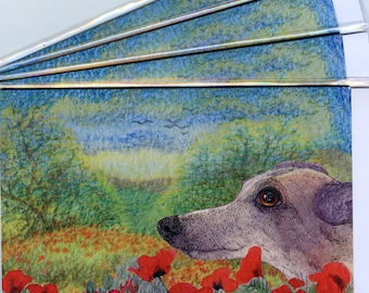 4 x Greyhound whippet lurcher dog greeting cards - thinking of you