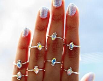 Swarovski Ring * Crystal Ring * Raw Crystal Ring * Dainty Ring * Minimalist Ring * Bridesmaid Gift * Raw Crystal Rings * Tiny Sterling Ring