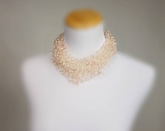 Pink Floating Necklace,Rose Bride Necklace,Rose Bib Necklace, Cloud Rose Necklace,Romantic Necklace,Blush Pearl Necklace