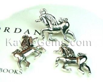 6 pcs Antique Silver 3-D Cute Unicorn Charms / Pendants / Earring Drops
