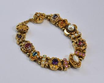 Solid Gold Multi-Stone Vintage Victorian Slide Bracelet