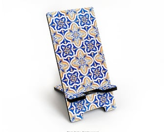 iPhone 6S Plus Stand Old Portuguese Tile Stand Blue Tile iPhone 6S Stand Ceramic Tile Print Docking Stand Samsung Smartphone Stand T93d