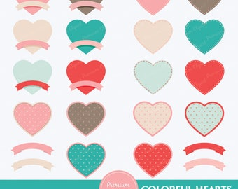Heart labels clipart set, heart label, heart tag, valentine clipart, tags clipart, digital labels, digital clipart - CA146