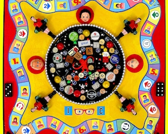 ALTERED GAME BOARD, Colorful 3 dimensional Assemblage with recycled toys