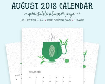 August 2018 Wall Calendar, Gift for Her, Month Wall Calendar,Tea Lover, Calendar, August Printable, US Letter Calendar, Printable Calendar