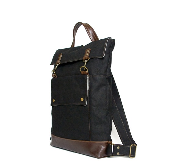 Professional Backpack Mens Leather Canvas Backpack Womens