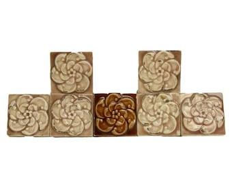 Conjunto de 10 azulejos florales decorativos