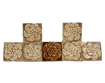 Set of 10 decorative floral tile