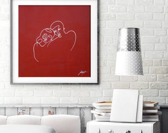 """Original Large continuous  painting on canvas, Couple in passionate red and white colors - Minimal Lovers Painting - Modern art, 27"""" x 27"""""""