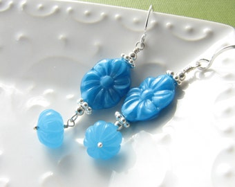 Turquoise Blue and Sterling Silver Dangle Earrings with Vintage Flower Beads Handmade Beaded Drop Earrings Under 20 Gift