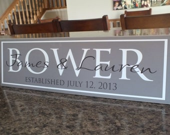 "Custom Personalized Family Name Sign Wedding Sign 7""x24"""