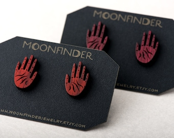 Hand Studs Wooden Earrings Red or Purple Open Palm Bloodwood Palmistry