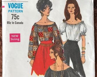 """Vogue 1960's Pattern # 7650 -  Off-Shoulder Peasant Blouse w/ Long or Short Puffed Sleeves - Size Small (8 - 10), Bust 31 1/2"""" - 32 1/2"""""""