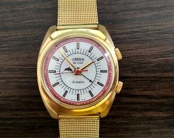 Soviet watch Cornavin with alarm, signal watch, watch for him, mens wrist watches, gents watch, vintage wrist watch, watches for men
