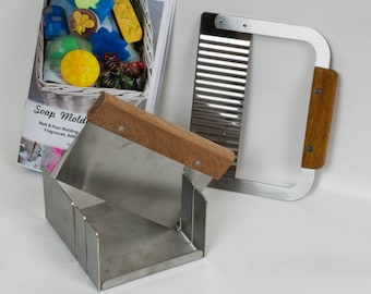 """Stainless Steel Soap Mitre Box Miter Set with Slots for 1"""" & 2"""" . Includes Straight and Wavy Cutters and Soap Molders Guide Mitre 2"""