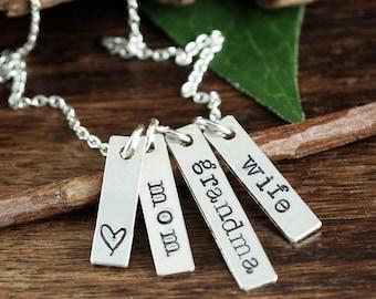 Mama Bar Halskette, Frau Mutter Oma, Muttertag Geschenk, Sterling Silber Halskette, Geschenk für Mama, gesegnet, gesegnet Oma, Mama, Geschenk für Oma