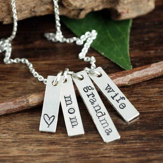Mom Bar Necklace, Wife Mom Grandma, Mothers Day Gift, Sterling Silver Necklace, Gift for Mom, Blessed Mom, Blessed Grandma,Gift for Grandma