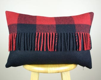Red and Black Buffalo Check Wool Pillow Cover with Fringe - 12x18 by True Having / Buffalo Plaid Pillow / Red and Black Lumbar Pillow