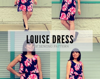 Louise Dress PDF sewing pattern & sewing tutorial for women. The printable sewing pattern includes a step by step sewing tutorial, plus size