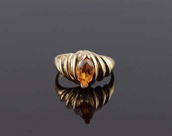 Citrine Marquise Pressure Grooved Scalloped Ring Size 7.5 Gold