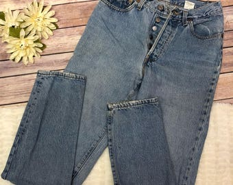 Vintage 501 Levis Jeans,Size 7M, Button Fly Levis Jeans, Mom Jeans, High Waist Tapered Leg Jeans