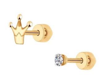 SOKOLOV - Stud Crown Earrings - 585 Gold With Phianite