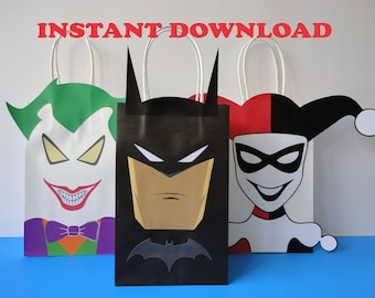 Batman/ Joker/ Harley Quinn Party Favor Bags/ Birthday Party Favors/ Treat/ Goodie/ Goody/ Loot/ Candy/ Gift/ Bags/ Villains/ Decoration