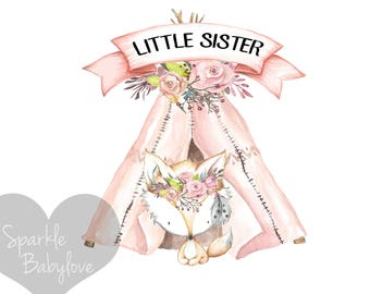 Little Sister Iron On Ready To Press Transfer, Boho Teepee Iron On Transfer Vinyl, Iron On Transfer, Big Sister Iron on, Unicorn HTV