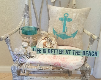 Burlap pillow with anchor on SALE nautical aqua