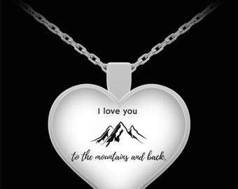 Beautifully Unique Silver Necklace - I love you to the mountains and back