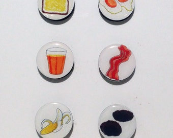 Breakfast Food Fridge Magnets / Refrigerator magnets / Magnet Set / Bacon Egg Toast OJ Sausage Banana