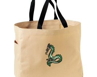 Dragon Tote Bag. Embroidered Dragon Tote. Dragon Tote Bag. Market Tote. Shopping Dragon Bag. SM-B0750