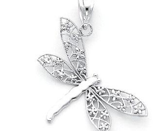14k White Gold Dragonfly Charm, White Gold Dragonfly Charm, Dragonfly Charm, Dragonfly, Dragonfly Jewerly, Dragonfly Pendant