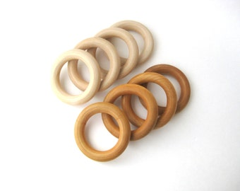 20 WOOD TEETHING RINGS Wholesale- Wood Teether- Natural Teether- Wood Ring- Organic Baby Teether-Wooden Teething Toy-Baby Shower Gift-Canada