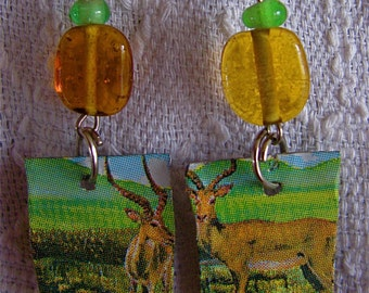 Recycled Tin can earrings, Upcycled tin earrings with glass beads, Eco friendly tin earrings