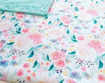 Minky baby blanket floral Designer