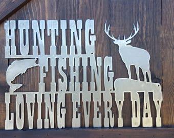 Metal Hunting and Fishing Sign, Hunting Fishing Decor, Woodland Decor, Cabin Sign, Elk, Bass, Buck, Hunting Sign, Fishing Sign, Boy Nursery