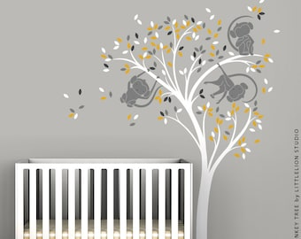 Monkey Sticker Monkey Tree Wall Decal Playful Monkeys Hanging from Tree Branches by LittleLion Studio