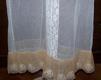 ON SALE Vintage  Net Lace Skirt Slip Boudoir Lingerie Lace Trim & Metallic Trim