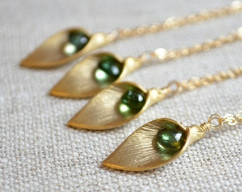 Emerald Green Bridesmaid Necklaces, Calla Lily Pendant, Genuine Tourmaline Gemstone, Gold Filled Set, Wedding Jewelry, Free Shipping