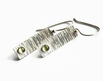 Peridot Sterling Rectangle Earrings, Textured Sterling Silver, Handmade Earwires
