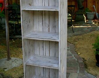 Distressed Furniture Shelves Solid Wood Linen Wood Bathroom Cabinet Bath USA Made 56x12.5x18
