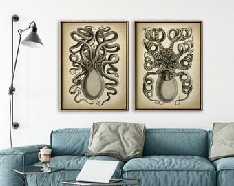 OCTOPUS Print SET of 2, Octopus Poster, Marine Decor, Nautical Art, Seal Life, Marine Life Print, Beach Home, Coastal art, unframed art
